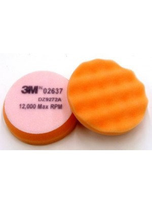 3M (02637) Buffing Pad 02637, 3-3/4 in Orange Foam White Loop [You are purchasing the Min order quantity which is 50 Pads]